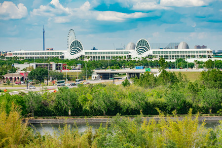 Orlando, Florida. April 7, 2019. Panoramic view of Convention Center on lightblue sky cloudy background in International Drive area. Editorial