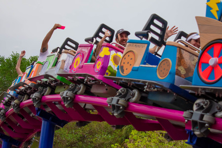 Orlando, Florida. April 7, 2019. People enjoying Cookie Drop rollercoaster family friendly at Seaworld in International Drive area (5)