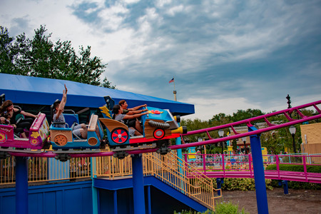 Orlando, Florida. April 7, 2019. People enjoying Cookie Drop rollercoaster family friendly at Seaworld in International Drive area (10)