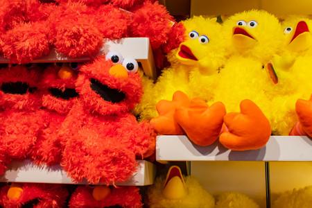 Orlando, Florida. April 7, 2019. Big Bird and Elmo plushies at Sesame Street store at Seaworld in International Drive area.