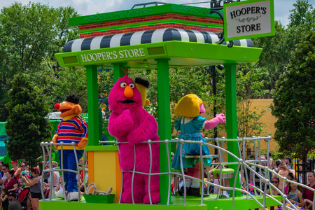Orlando, Florida. April 7, 2019. Ernie and Telly Monster on Sesame Street Parade at Seaworld in International Drive area.