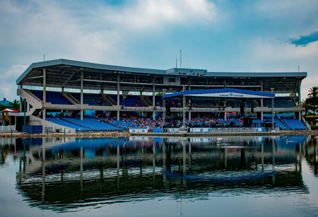 Orlando, Florida. April 7, 2019. Panoramic view of Bayside Stadium on lightblue sky background at Seaworld in International Drive area.
