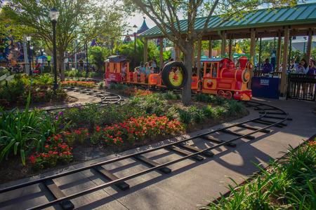Orlando, Florida. April 7, 2019. Parent and Kids enjoying colorfur Elmos Choo Choo Train at Seaworld in International Drive area (2) 報道画像