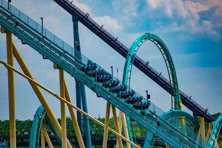 Orlando, Florida. April 7, 2019. People enjoying terrific Kraken rollercoaster at Seaworld in International Drive area (2)