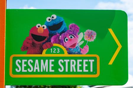 Orlando, Florida. April 7, 2019. Sesame Street sign at Seaworld in International Drive area.