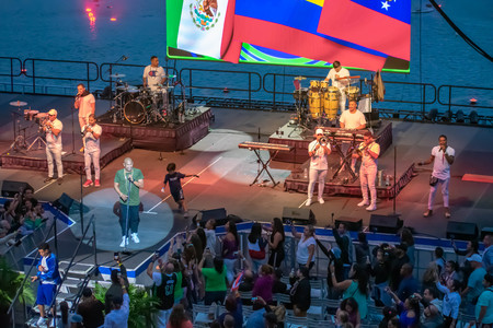 Orlando, Florida. March 17, 2019. Randy Malcom and Alexander Delgado by People of Zona singing urban music at Seaworld in International Drive Area (7)