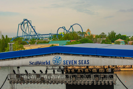 Orlando, Florida. March 17, 2019. Top view of Manta Ray rollercoaster, Journey to Atlantis, and Seven Seas sign at Seaworld in International Drive Area.