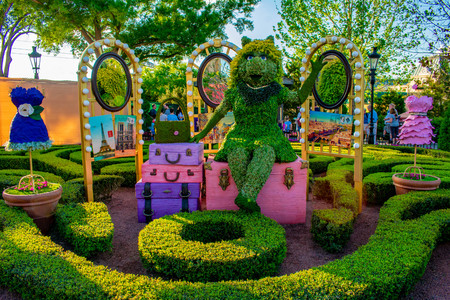 Orlando, Florida. April 02, 2019. Peggy topiarie at Epcot in Walt Disney World.
