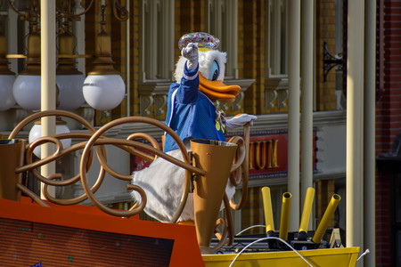 Orlando, Florida. April 02, 2019. Donald Duck in Mickey and Minnies Surprise Celebration at Walt Disney World (2)