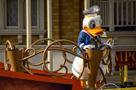 Orlando, Florida. April 02, 2019. Donald Duck in Mickey and Minnies Surprise Celebration at Walt Disney World (4)
