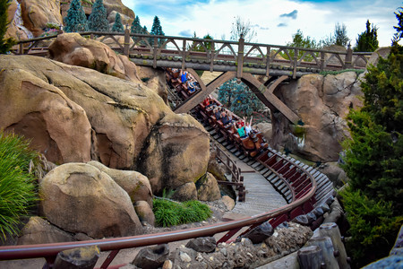 Orlando, Florida. April 02, 2019. People enjoying Seven dwarf mine train in Magic Kingdom at Walt Disney World (4)