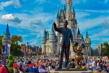 View of Partners Statue This statue of Walt Disney and Mickey Mouse is positioned in front of Cinderella Castle in Magic Kingdom. (2)