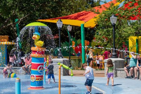 Orlando, Florida. April 20, 2019. Kids Playing in Rubber Duckie Water Works water attraction at Seaworld in International Drive area