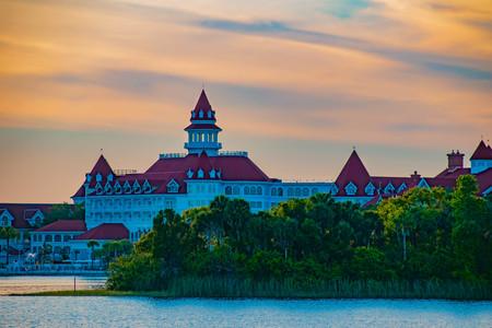Orlando, Florida. April 23, 2019. Disneys Grand Floridian Resort & Spa on beautiful sunset background at Walt Disney World