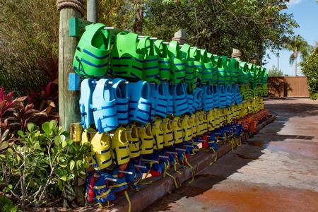 Orlando, Florida. April 26, 2019. Colorful Life Vest at Aquatica water park. Редакционное