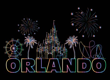Orlando colorful lettering on black backround. Vector with travel icons and fireworks. Art Postcard.