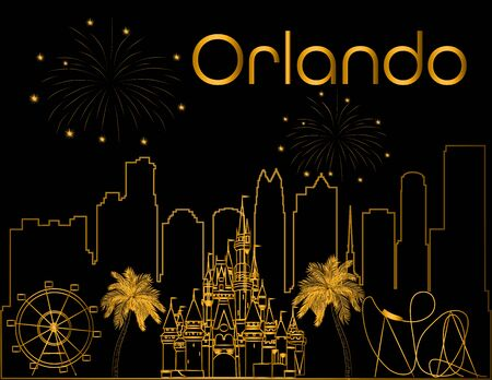 Orlando gold lettering on black backround. Vector with skyscraper, travel icons and fireworks. Travel Postcard. Illustration