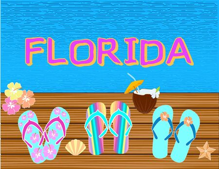 Florida lettering Vector tropical letters, with beach icons on blue water backround. Stock Vector - 133200471