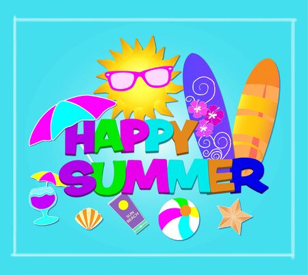 Happy Summer colorful lettering. Vector with beach icons on lightblue background