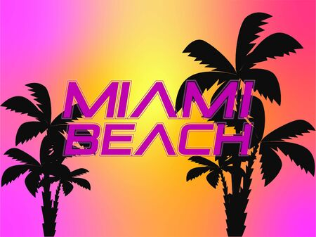 Miami Beach white lettering with black palm trees on colorful sunset backround.