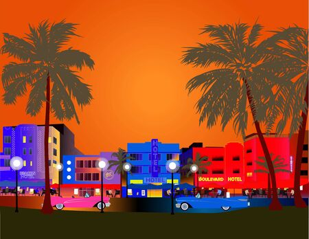 Colorful Miami Vector. Ocean Drive, Art Deco, Palms and Old Cars. Illustration