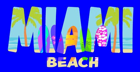 Miami beach lettering on colorful beach background with palm trees and surfboards. Travel Postcard. Stock Vector - 133200478