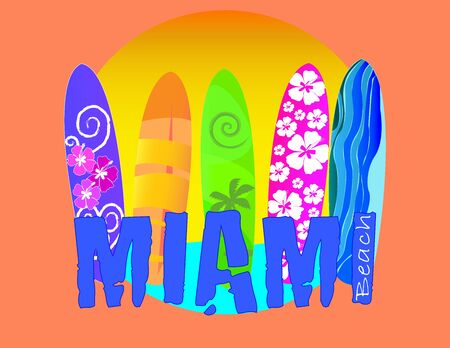 Miami lettering, Surfboard with different designs on beatiful beach backround Vector Illustration. Travel Postcard.