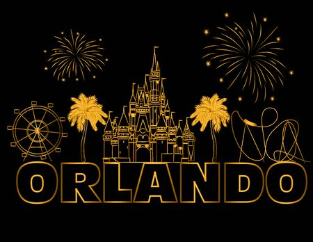 Orlando gold lettering on black backround. Vector with travel icons and fireworks. Travel Postcard.