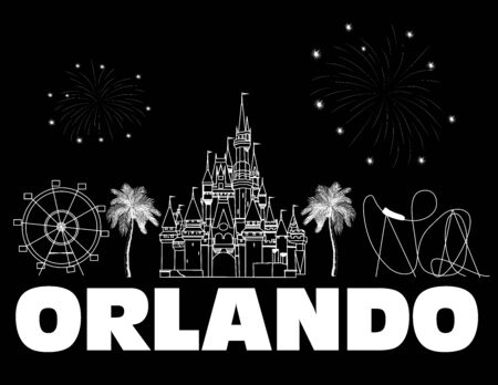 Orlando white lettering on black backround. Vector with travel icons and fireworks. Travel Postcard .. Stock Vector - 133200481