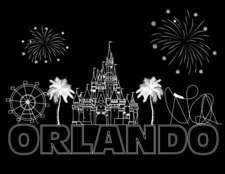 Orlando white lettering on black backround. Vector with travel icons and fireworks. Travel Postcard.