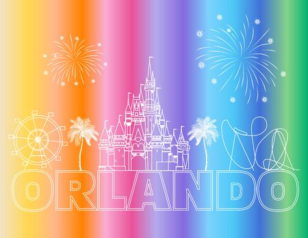 Orlando white lettering on colorful backround. Vector with travel icons and fireworks. Travel Postcard.