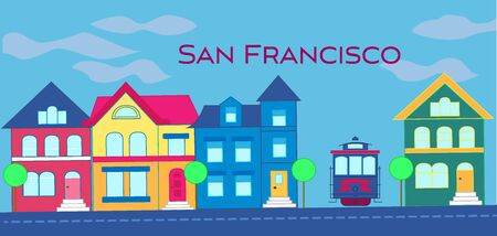 San Francisco magenta magenta lettering. Vector with colorful victorian houses and cable car on lightblue cloudy background. Travel Postcard.