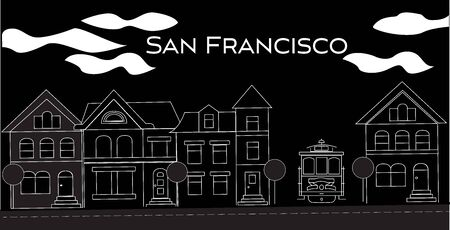 San Francisco white lettering. Vector with victorian houses and cable car on black background. Travel Postcard. Illustration