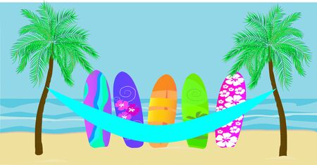 Vector with palm trees, paraguayan hammock, and colorful surfboard on beach b