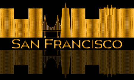 San Francisco gold lettering. Vector with skyscrapers and golden gate bridge. Illustration