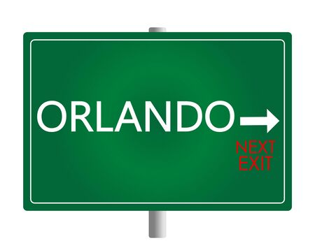 Orlando white and red lettering on green backround. Sign vector. Illustration