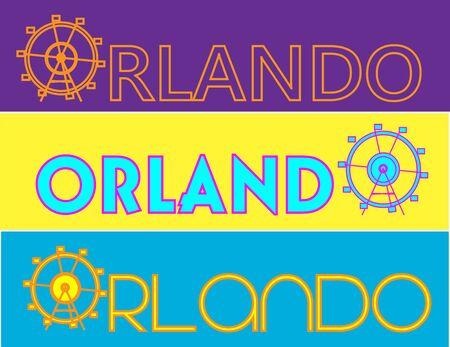 Orlando typography, attractions graphics, vectors