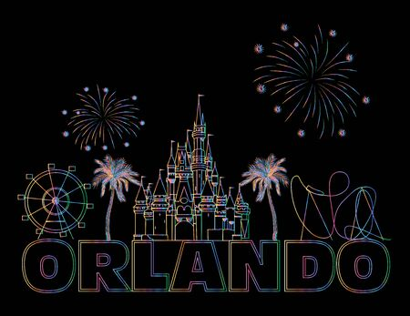Orlando colorful lettering on black backround. Vector with travel icons. Travel Postcard.