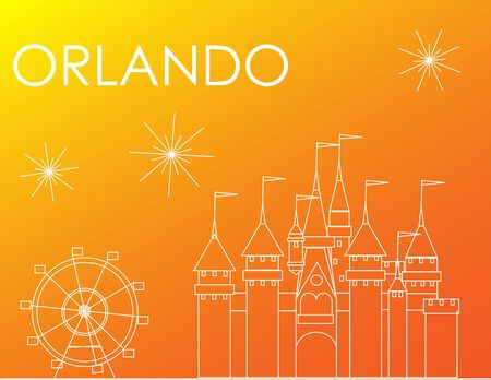 Orlando Atractions white line on colorful background, Line Art