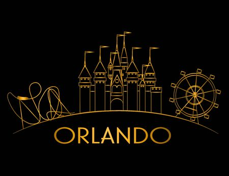 Orlando Atractions gold line on black background. Vacations Card Stock Vector - 133200497