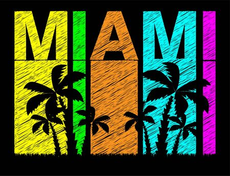 Miami colorful lettering with black palms trees. Travel postcard.