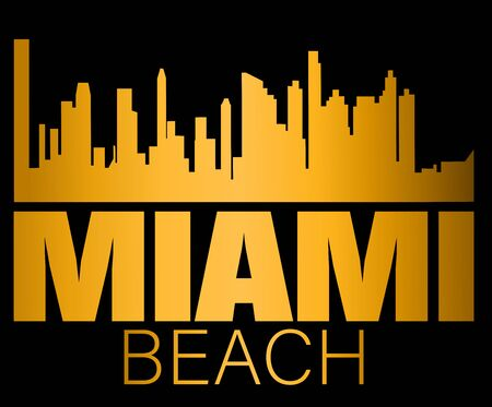 Miami Beach lettering and gold silhouette buildings on black backround. Travel card.