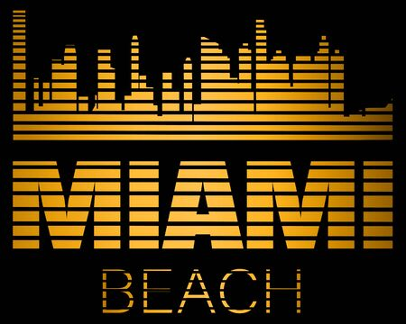 Miami Beach lettering, gold silhouette buildings with black lines. Travel card. Stock Vector - 133200502