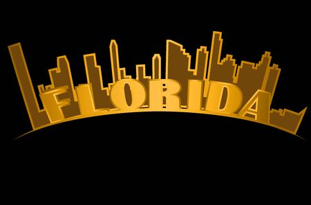 Florida lettering on gold silhouette of the city of Miami, black backround