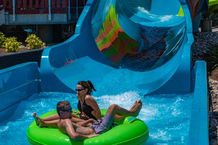 Orlando, Florida. May 20, 2019 People enjoying Karekare curl. This new ride is a curve shaped wave which will riders experience when climbing the vertical wave wall at Aquatica (19)