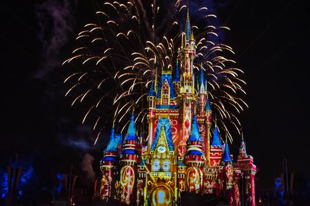 Orlando, Florida. May 10, 2019. Happily Ever After is Spectacular fireworks show at Cinderella's Castle on dark night background in Magic Kingdom (13)