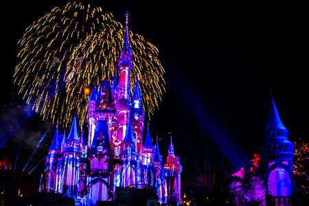 Orlando, Florida. May 10, 2019. Happily Ever After is Spectacular fireworks show at Cinderella's Castle on dark night background in Magic Kingdom (34)
