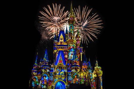 Orlando, Florida. May 10, 2019. Happily Ever After is Spectacular fireworks show at Cinderella's Castle on dark night background in Magic Kingdom (49) Editorial