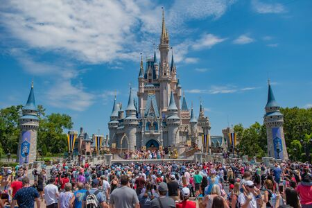 Orlando, Florida. May 17, 2019. Mickey's Royal Friendship Faire on Cinderella Castle in Magic Kingdom at Walt Disney World Resort (1)