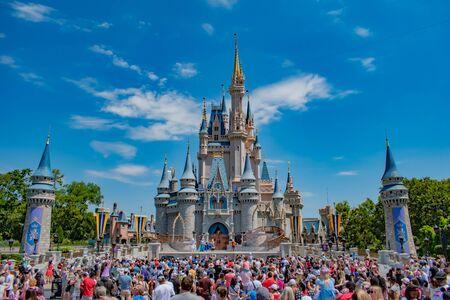Orlando, Florida. May 17, 2019. Mickey's Royal Friendship Faire on Cinderella Castle in Magic Kingdom at Walt Disney World Resort (4)